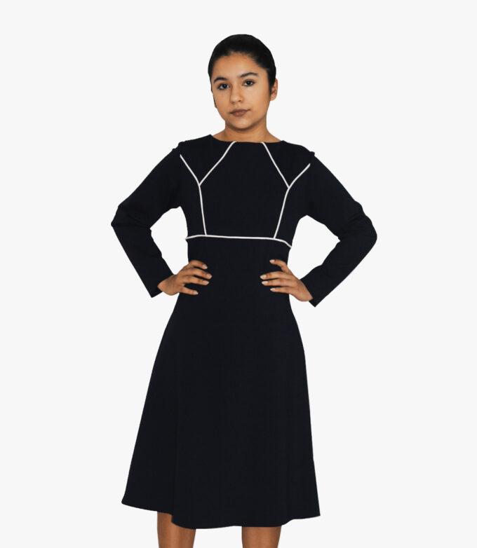 flot sort langærmet kjole